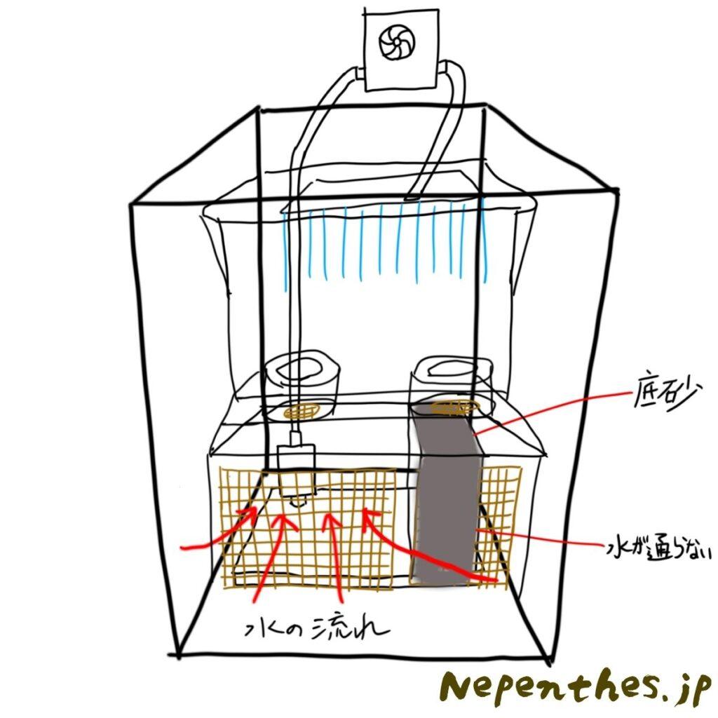 ネペンテス×滝のアクアテラリウム設計3