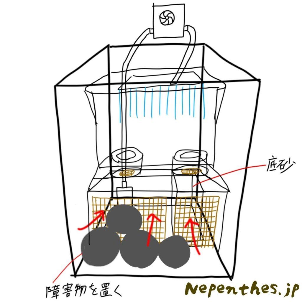 ネペンテス×滝のアクアテラリウム設計4