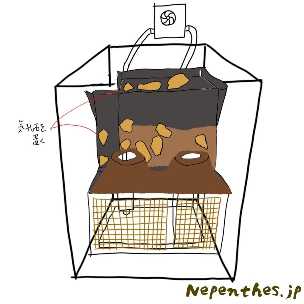 ネペンテス×滝のアクアテラリウムを作る 作業図3